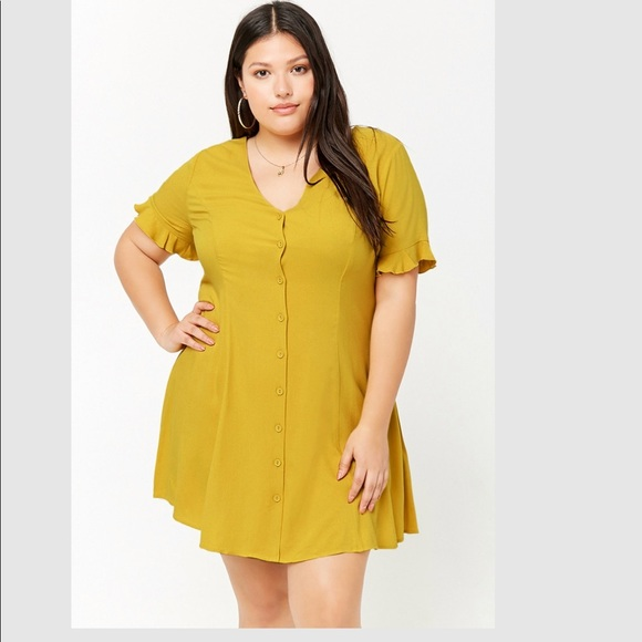 Forever 21 Dresses | Plus Size Button Front Shift Dress | Poshmark